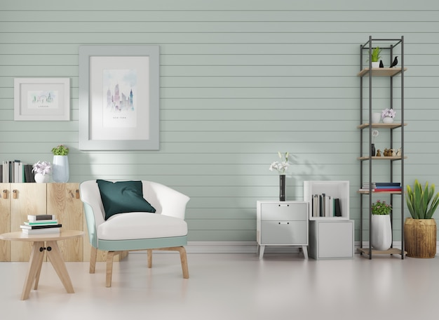 Interior mockup in a room with blue slats on the wall and a picture frame a blue armchair is posit