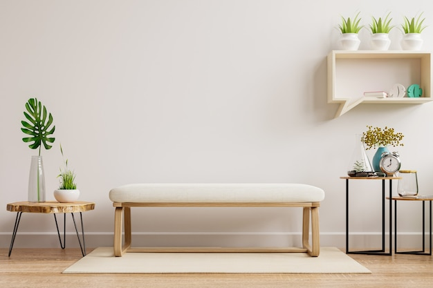 Interior mockup wall in living room have muji chair and decoration.3d rendering