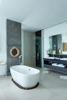 Interior of modern bathroom in modern villa.