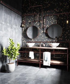 Interior of a modern bathroom with a black mosaic on the wall. 3d rendering