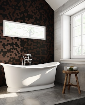 Interior of a modern bathroom with brown and black tiled walls and white bathtub. classic style. 3d rendering