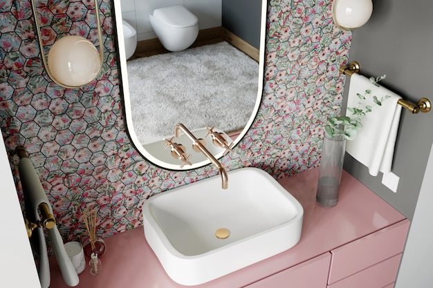 Interior of a modern bathroom with a wall with a hexagonal mosaic of pink and blue shades. 3d render
