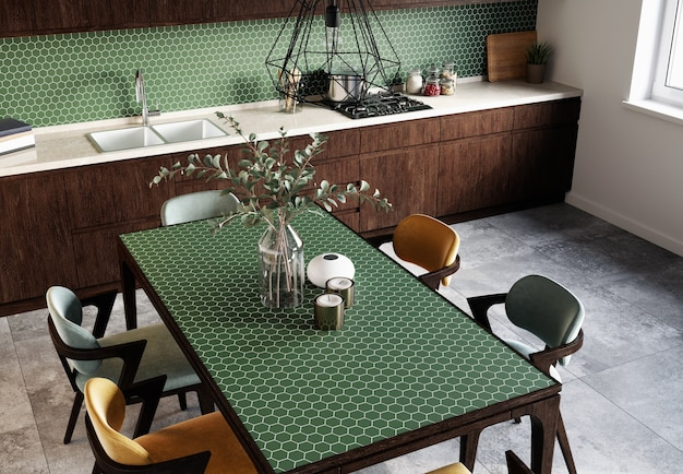 Interior of a modern dining room with hexagonal green mosaic backsplash and gray tiles on the floor