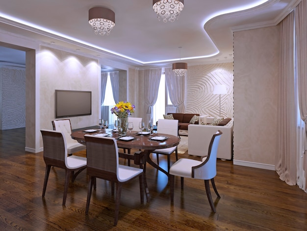 Interior of modern dining room with included light. 3d render