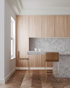 Interior of modern kitchen with wooden cupboards, long white marble bar with wooden stools. 3d rendering