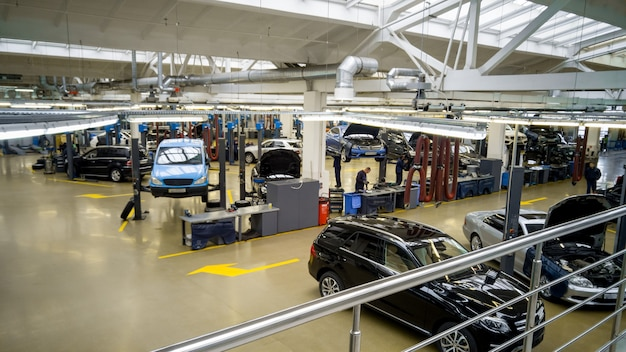 Interior of modern professional car repair station