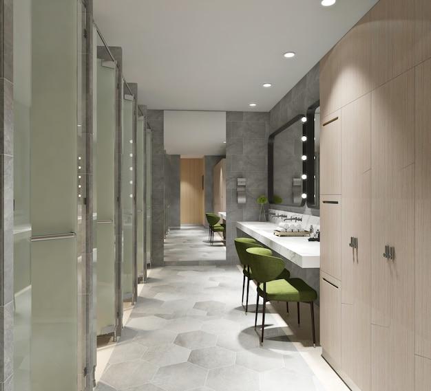 Interior of modern public bathroom