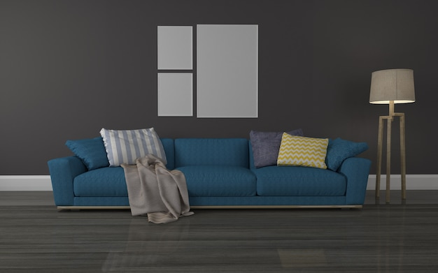 Interior of modren living room realistic mockup of 3d rendered sofa - lamp and collage of  frame