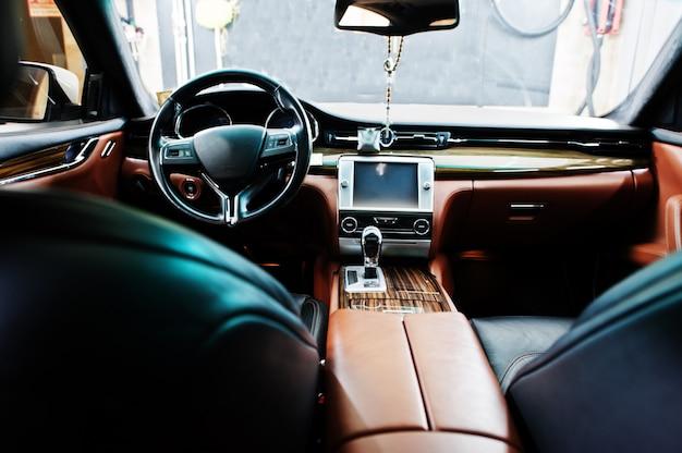 Interior of new luxury sport car.