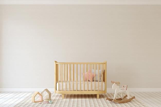 Interior of nursery in scandinavian style. mock-up. 3d render.