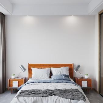 침대 3d 렌더가 있는 침실 인테리어