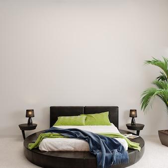 緑の植物と寝室のインテリア