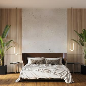 枕付きの寝室のインテリア