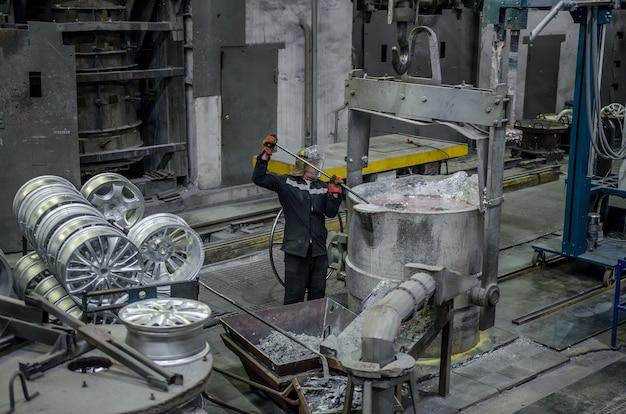 生産用合金ホイール用の機器を備えた鋳造所の内部