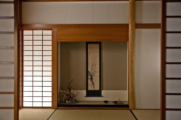 일본식 방의 인테리어입니다. 모든 세부 사항은 원본입니다
