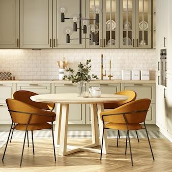 Интерьер кухни с бежевым мозаичным фартуком и паркетным полом. 3d рендеринг