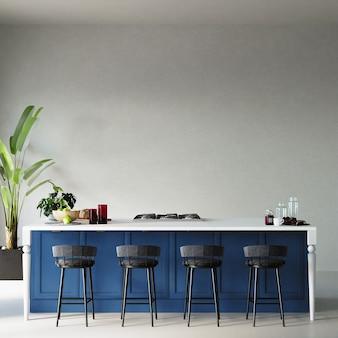 파란색 부엌 캐비닛 및 흰 벽 앞의 다른 장식과 부엌의 인테리어, 3d 렌더링,