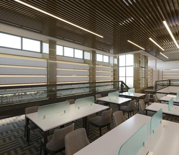 白い書斎の机と椅子、3dレンダリングを備えた図書館のインテリア