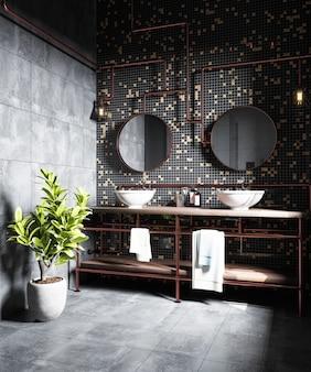 벽에 검은 모자이크가있는 현대적인 욕실 인테리어. 3d 렌더링