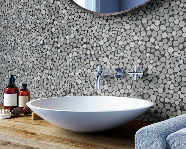 Интерьер современной ванной комнаты со стеной, покрытой круглой мозаикой серых оттенков. спа-процедуры. 3d рендеринг
