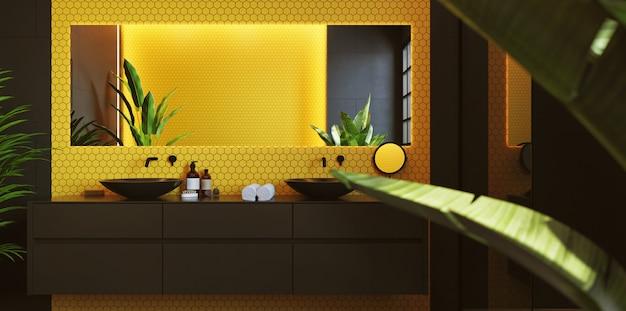 Интерьер современной ванной комнаты с желтой мозаикой на стене. прямоугольное зеркало и круглый черный умывальник. 3d рендеринг