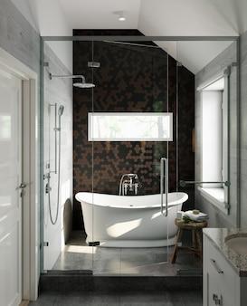 갈색과 검은 색 타일 벽과 흰색 욕조가있는 현대적인 욕실의 내부입니다. 클래식 스타일. 3d 렌더링