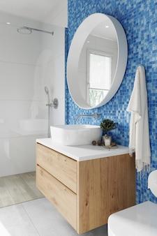 Интерьер современной ванной комнаты с бело-синими плиточными стенами. 3d рендеринг