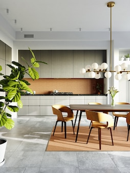 壁にモザイクが施されたモダンなダイニングルームのインテリア。ゴールドとブラウンのセラミックモザイク。モダンな椅子と木製のテーブル。 3dレンダリング。