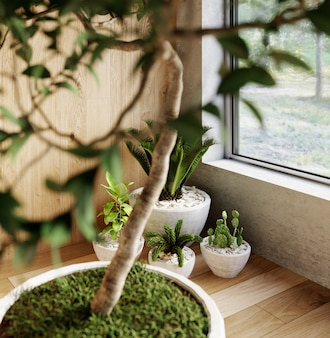 Интерьер современной гостиной-студии с комнатными растениями. 3d-рендеринг.