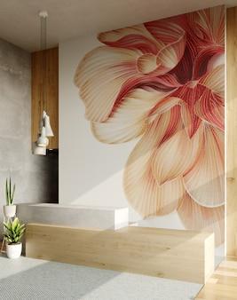 Интерьер современной гостиной-студии с большой картиной. 3d рендеринг