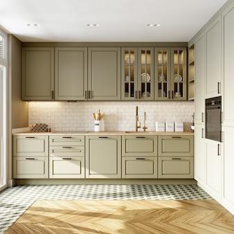 Интерьер современной просторной кухни с бежевым мозаичным фартуком. 3d рендеринг