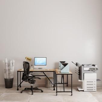 흰 벽 앞에 연구 테이블이있는 사무실 인테리어