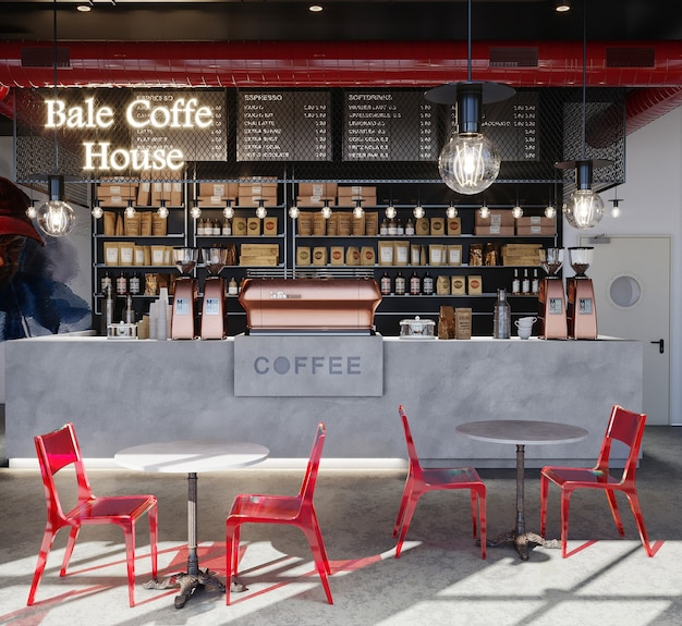 Интерьер ресторана с красными стульями и столом, 3d визуализация