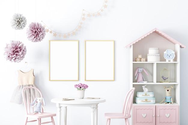 Макет интерьера комнаты для девочки в рамке праздничного декора мокап а4