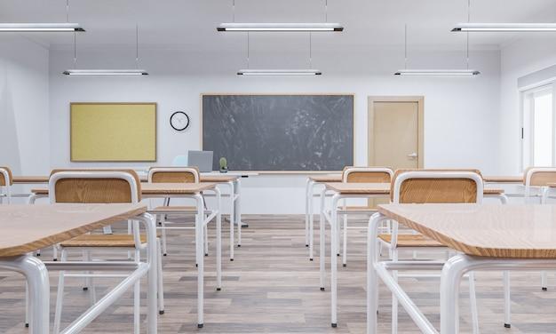 배경에 나무 책상과 칠판이 있는 학교 교실 내부. 교육의 개념과 다시 학교로. 3d 렌더링