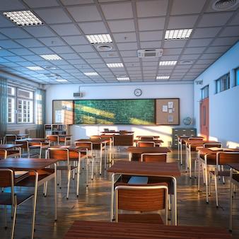 Интерьер школьного класса, деревянный пол и парты. концепция образования и обучения. 3d визуализация