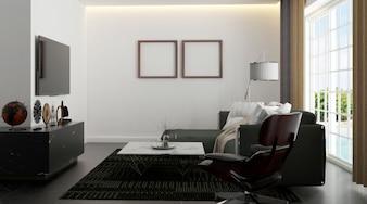 Interior of a white minimalist bedroom.