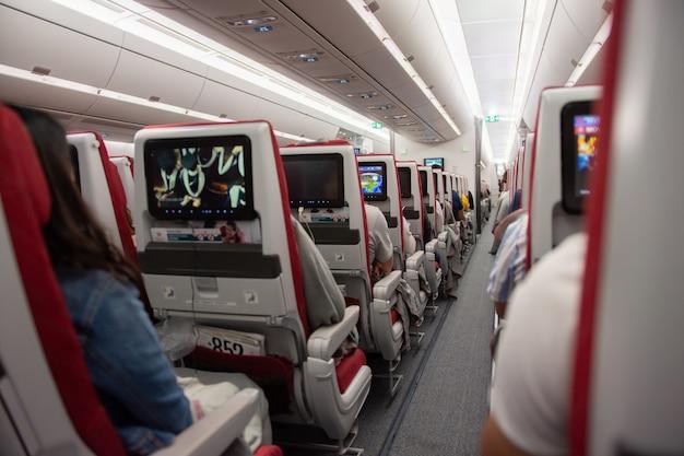 座席の乗客と飛行機の飛行のインテリア