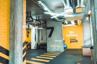 Interior of an illuminated fitness club