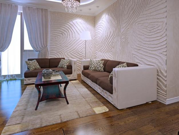 물결 모양의 벽이있는 아르 데코 라운지의 내부. 3d 렌더링