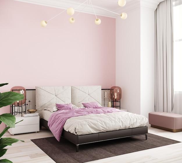 枕とピンクのベッドカバー付きのベッド、3dレンダリングを備えたベッドルームのインテリア