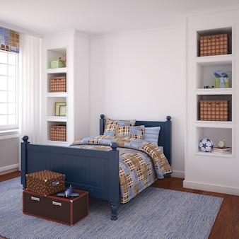 Интерьер комнаты мальчика. 3d визуализация.