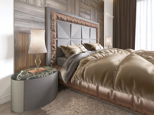 안락의자, 플로어 램프, tv 유닛 개폐식 tv, 드레스 테이블을 갖춘 현대적인 디자인의 아늑한 침실 내부. 3d 렌더링