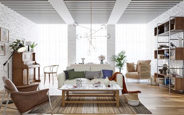レンガの壁と木製家具の3dレンダリングを備えた居心地の良いリビングルームのインテリア