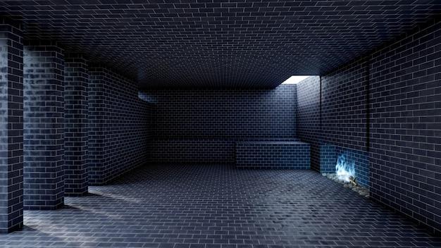 暖炉と青い炎のあるダークモダンな空のホールのオープンスペースのインテリア