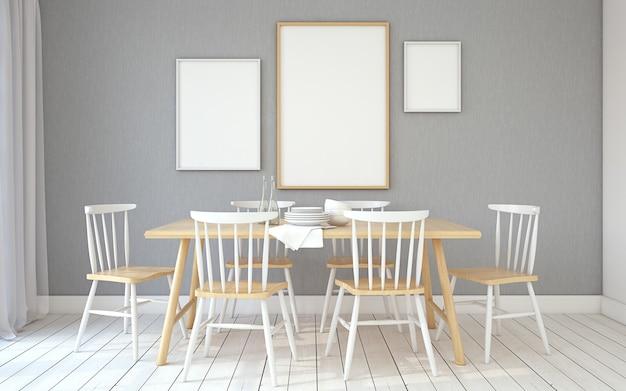 Интерьер столовой в скандинавском стиле. макет рамы. 3d визуализация.