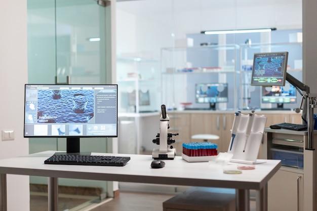과학 연구를위한 첨단 미생물학 도구를 사용하여 제약 혁신을 위해 준비된 최신 장비를 갖춘 빈 과학 실험실 내부