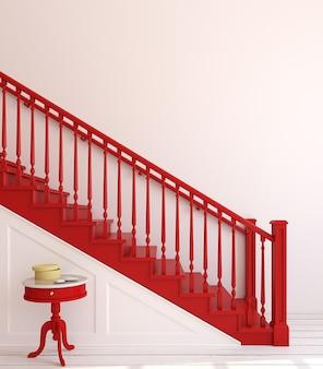 Интерьер прихожей с деревянной лестницей