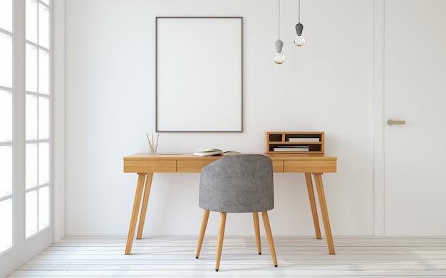 스칸디나비아 스타일의 홈 오피스 인테리어입니다. 포스터가 있는 모형 인테리어. 3d 렌더링입니다.