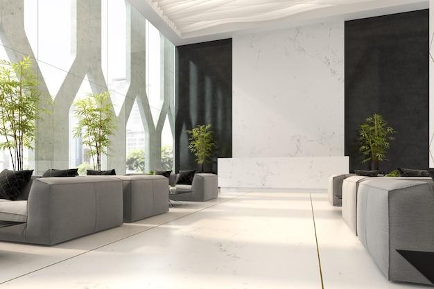호텔 및 스파 리셉션 3d 그림의 인테리어